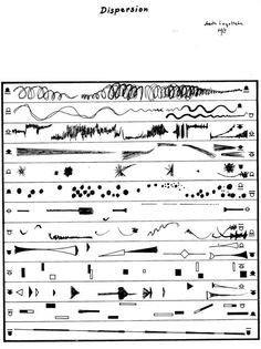 As somebody with one foot in the visual art world and the other in sound world, I have always been interested in the experimental music notation strategies. Aside from the fact that these are often beautiful artifacts, I… Music Visualization, Information Visualization, Graphic Score, Sound Map, Music Manuscript, Ancient Scripts, Conceptual Drawing, Calligraphy Text, Experimental Music