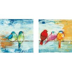 Portfolio Canvas Decor Song Birds II by Three Bamboo Studio 2 Piece Painting Print on Wrapped Canvas Set Bird Paintings On Canvas, Bird Canvas, Acrylic Painting Canvas, Canvas Frame, Painting Prints, Canvas Wall Art, Oil Painting Basics, Painting Tips, Colorful Wall Art
