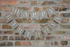 Happy Birthday Banner, burlap happy birthday banner, birthday decor via FriendlyHandmade