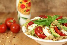Caprese Salad with a Twist - Avocado, Tomato, Mozzarella and Basil with Pasta