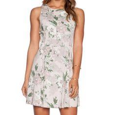 "Kenon dress Beautiful dusty rose/nude dress with flower pattern •zipper closure in the back • unlined  • bust 34"", waist 27"", length 33"" BB Dakota Dresses"