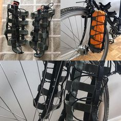 Built a couple nice little fork mount burrito cages over the past few weeks. Shock-corded so very adaptable to diff loads. Fixed Gear Bicycle, Bicycle Brakes, Bike Cargo Trailer, Survival Rifle, Recumbent Bicycle, Bike Bag, Touring Bike, Bike Frame, Bicycle Accessories