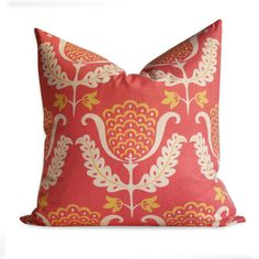 """Waverly One Wish, Coral Damask/Floral Pillow Cover - 20"""" x 20"""" - SAME Fabric Both Sides - Invisible Zipper. $25.00, via Etsy."""