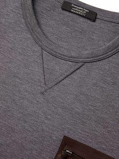 Pull Maserati gris détail en cuir