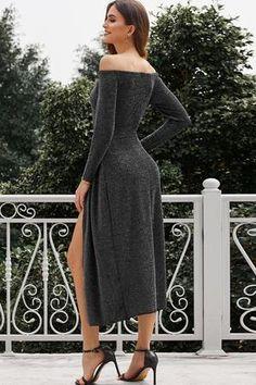 Metallic Glitter Off Shoulder Formal Dress – Jeprivfashion Purple Dress, Fancy Dress, Gray Dress, Prom Dresses, Formal Dresses, Party Looks, Ball Gowns, Fashion Dresses, Shoulder