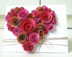 handmade Valentine - made of coiled paper roses Paper Hearts, Mothers Day Cards, Happy Mothers Day, Valentine Crafts, Be My Valentine, Flower Cards, Paper Flowers, Twine Flowers, Send Flowers