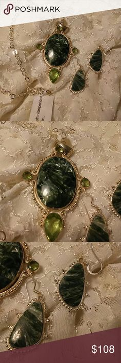 """Russian Seraphinite Necklace Set 3"""" Seraphenite Cabachon Pendant with green quartz faceted stones. 925 silver 24"""" curb chain. Coordinating Earrings 1"""". HANDCRAFTED Jewelry Necklaces"""