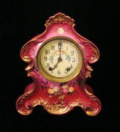 Items similar to Beautiful Waterbury Porcelain Clock / circa 1900 on Etsy Unusual Clocks, Cool Clocks, Mantel Clocks, Clock Decor, Antique Clocks, Vintage Clocks, Old Watches, Pocket Watches, Classic Clocks