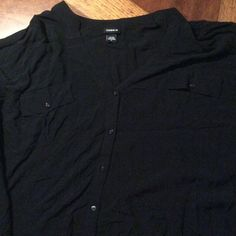 Black dress shirt Black torrid dress shirt torrid Tops Button Down Shirts