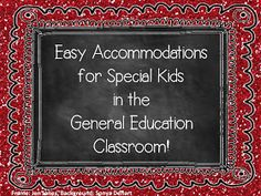 A Special Sparkle: Easy Accommodations in the General Education Classroom