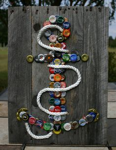 Anchor Wall Art with Mixed Bottle Caps on Pallet Wood