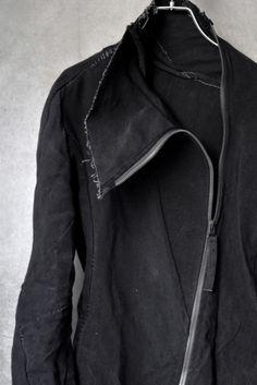 frayed black asymmetric zip jacket, Leon Emanuel Blanck at Loom Osaka