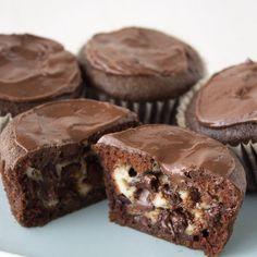 Cheesecake Stuffed Chocolate Cupcakes - my latest favorite cupcake!