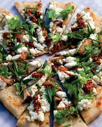 Grilled Flatbreads with Mushrooms, Ricotta and HerbsAdd Feta to this for extra flavor, Use Ina Garten's Pizza dough recipe, subbinb one cup bread flour for all purpose flour