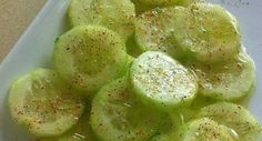 INGREDIENTS  Baby cucumber Lemon juice Olive oil Salt and pepper Chile powder  Instructions Chop a baby cucumber and add lemon juice, olive oil, salt and pepper and chile powder on top. YUM!Source : allrecipes,com