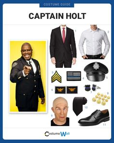 Lead your precinct as the 'meep morp robo-cop', dressed as Captain Holt from the TV show Brooklyn Nine-Nine. Got Costumes, Cosplay Costumes, Costume Ideas, Character Dress Up, Character Outfits, Brooklyn 99 Actors, Charles Boyle, Bald Cap, Police Detective