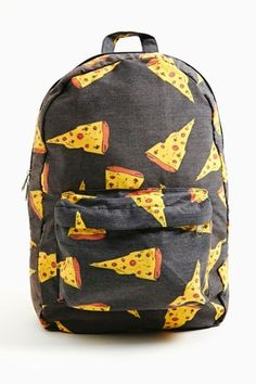 bag pizza cute adorable backpack bookbag perfect yellow orange black backpack school zip cool best clothes sweater black dope brand lovepizza pizzalovers food colorful new original school bag grey hipster backbag