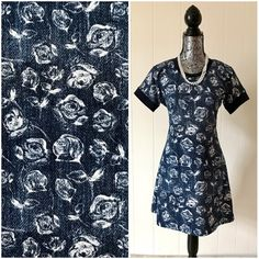 Women's short sleeve dress, short floral knit tshirt dress for spring or summer, Easter outfit by DressMechanic on Etsy