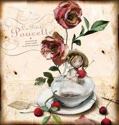 Poucette, carte postale MissClara, Coté Bord'eau Miss Clara, Paperclay, Paper Artist, Childrens Books, Fairy Tales, Whimsical, Illustration, Mixed Media, Inspiration