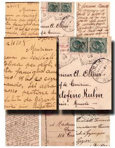 vintage postcard sampler old italian and french handwriting collage sheet 31. $3.50, via Etsy.