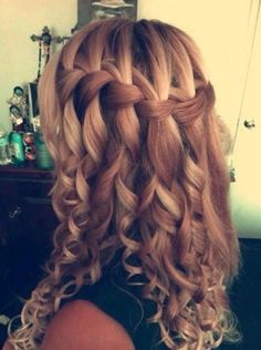 Waterfall Braid for Long Curly Hair..doing this when I curl my hair again
