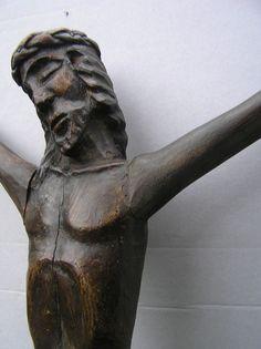 JEZUS, man van smarten. Jezus begrijpt onze pijn en verdriet als geen ander; Groot houten Corpus Christi - eind 19e eeuw