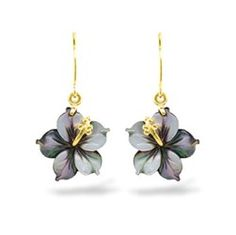 "Yellow Gold Tahitian Mother of Pearl Hibiscus Earrings  14K Yellow Gold Tahitian Mother of Pearl Hibiscus Earrings.   Earrings measure approximately 5/8"" in length.  Item #: 12625  $229.00 - Na Hoku"