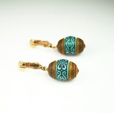 Sarah Coventry  Earrings African Brown Turquoise by zephyrvintage