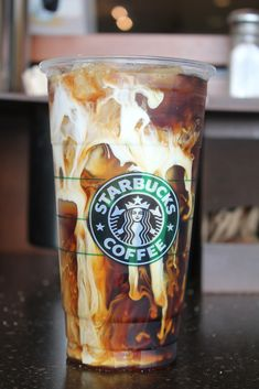 """Paint an iced caramel macchiato in a plastic cup with a green straw... maybe besides a latte and vbf... label """"starbucks"""" or """"coffee"""" or something cute-ish"""