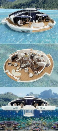 Italian industrial designer Michele Puzzolante designed this conceptual floating luxury hotel suite powered by solar cells. The Solar Floating Resort is a Architecture Design, Floating Architecture, Futuristic Architecture, Floating Hotel, Floating Island, Floating Shelves, Deco Paris, Hotel Suites, Future House