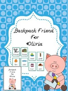 This Backpack Friend has a letter to the parent/child explaining what to do with the pack, a journal cover with a page for the journal writing and illustration and a Rhyming Memory Card Game.   I laminate the cover of the journal and copy the letter to the parent/child from the character and enough journal pages for each student.