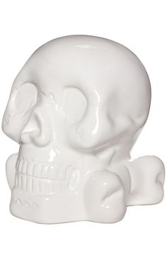 Keep your mind on your money and your money on your mind with this white, ceramic Skull Bank! The skull-n-crossbones design features a nice, sturdy base and its domineering presence will undoubtedly k