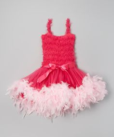 Look at this Hot Pink Ruffle Feather Dress - Infant, Toddler & Girls on #zulily today!