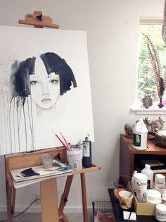 Anahata katkin studio work in progress My Art Studio, Painting Studio, Muse Art, Dream Art, Gravure, Large Art, Portrait Art, Art Studios, Art Tutorials