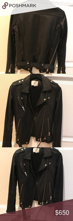 IRO black leather jacket Black leather jacket, worn a handful of times, looks great with jeans, leggings and works well for layering! Includes a belt. EUROPEAN SIZE 34 IRO Jackets & Coats