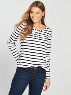 75b4ebfe3f4 V by Very Button Front Long Sleeve Top - Stripe