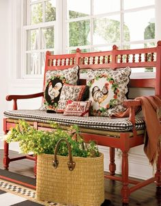 From Country Living . a festive red bench! This one reminds me of the red bench Rebecca Chapman used in her entry. Country Bench, Country Blue, Country Living, Style Cottage, French Country Cottage, French Country Style, Cottage Porch, Cottage Art, French Country
