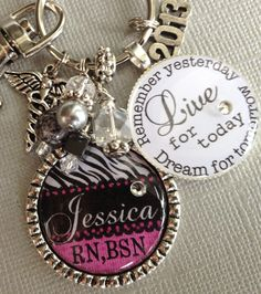 I might have to order one!! RN BSN Nurse, Personalized Keychain - nurse graduate-  2013 charm, caduceus symbol, medical field graduate. $24.50, via Etsy.