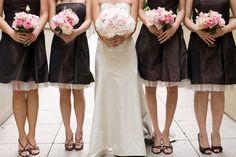 Wedding, Flowers, Pink, Dress, Brown, Bridesmaids, Peonies, Tealight weddings events