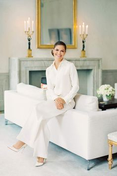 Crown Princess Victoria of Sweden poses ahead of her birthday. Photo: Erika Gerdemark, The Royal Court, Sweden Princess Victoria Of Sweden, Crown Princess Victoria, All White Outfit, White Outfits, Kate Und William, Queen Of Sweden, Sweden Fashion, Style Royal, Victoria Fashion