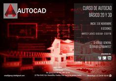 Curso de Autocad básico 2d y 3d.  Inicio martes 3 de Noviembre. Lunes y martes 10 am a 1 pm. 4 sesiones, 4 horas c/u  Informes:  Tel: (222) 211 25 18 / 687 02 91 Whatsapp: 222 687 02 91 Mail: creatifgroup.info@gmail.com Dirección: 37 Pte #140, Col. Huexotitla, Puebla, Pue. México.  #CréatifGroup #Créatif #cursos #talleres #capacitación #autocad #3dmax #archicad #2d #3d #planos #arquitectura #ingeniería #diseño #construcción #dibujo #layout #graphicsoft #autodesk #render #creatifgroup