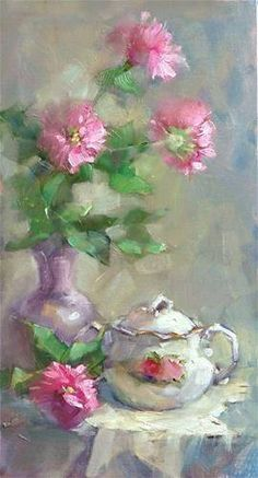 """Daily Paintworks - """"Bee Balm and Sugarbowl"""" - Original Fine Art for Sale - © Barbara Schilling Cafe Art, Flower Background Wallpaper, Still Life Art, Beautiful Paintings, Watercolor Flowers, Flower Art, Drawings, Artwork, Type 1"""