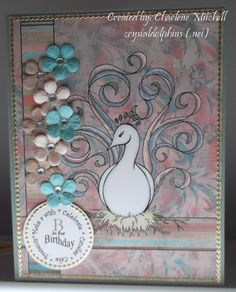 """Card crafted by Charlene Mitchell using """"Princess Fussy Feather"""" digi stamp by Diana Garrison"""