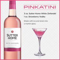 Pinkatini wine cocktail: Sutter Home White Zinfandel and strawberry vodka.perfect my two favorite drinks mixed. Fancy Drinks, Summer Drinks, Cocktail Drinks, Cocktail Gifts, White Zinfandel, Zinfandel Wine, Sutter Home, Alcohol Drink Recipes, Uv Vodka Recipes