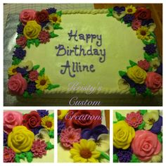Birthday cake by Kristy's Custom Creations. Rectangle 3 layer yellow cake with buttercream icing. Flowers are hand made using marshmallow fondant. Piped BC rope border and leaves. Lavender piped BC lettering.
