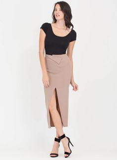 Fold You So Slit Wrap Maxi Skirt TAUPE