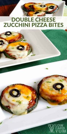 It's so easy to make a low carb pizza using vegetables. Just take a look at these simple zucchini pizza bites with double cheese. | LowCarbYum.com via @lowcarbyum