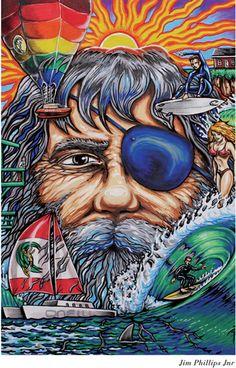 Get yourself some O'Neill 60 Years artwork - for example 'My Impression of Jack O'Neill by Jim Phillips Jr. Surf Design, Design Art, Surf Logo, Skate Art, Surf Art, Skateboard Art, Beach Art, Love Art, Amazing Art