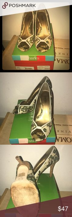 """Charles David Cream & Green Pump """"Bridget"""" Cork Heel. Cloth pattern! Leather accents. Comfortable shoe. Heel stays included. With box. Charles David Shoes Heels"""