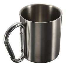 220ml Stainless Steel Coffee Mug Outdoor Camping Cup Carabiner Hook Double Wall